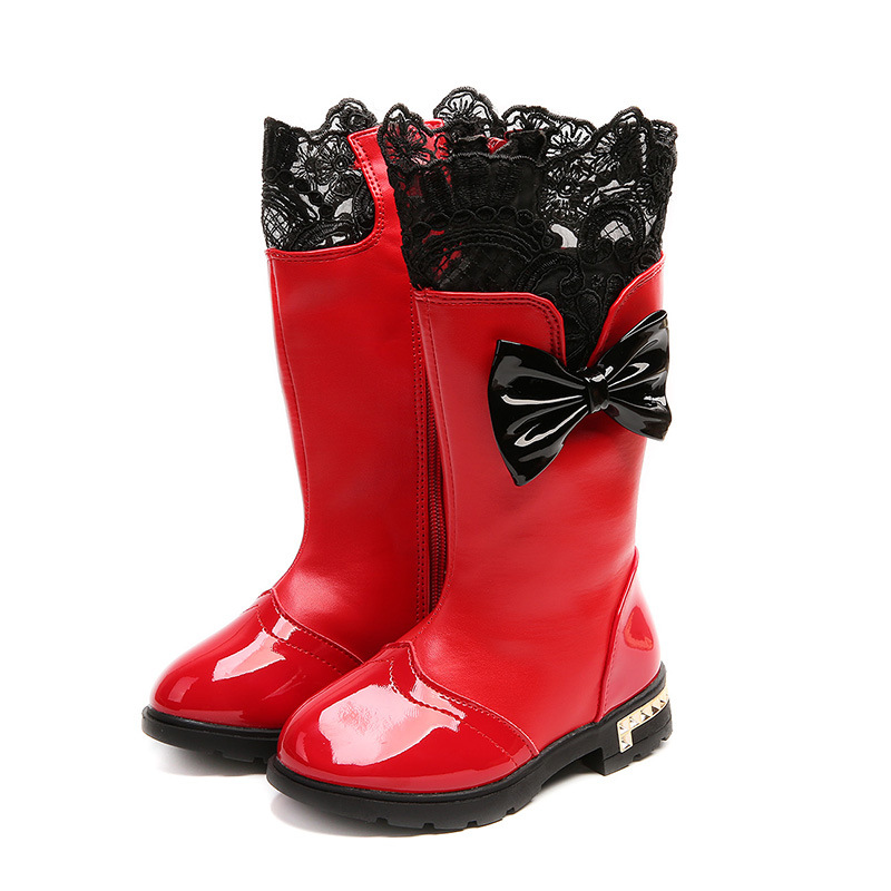 JGSHOWKITO Girls Boots Shoes Winter Kids Fashion Cotton Warm PU for Lace Bow-Knot Sweet
