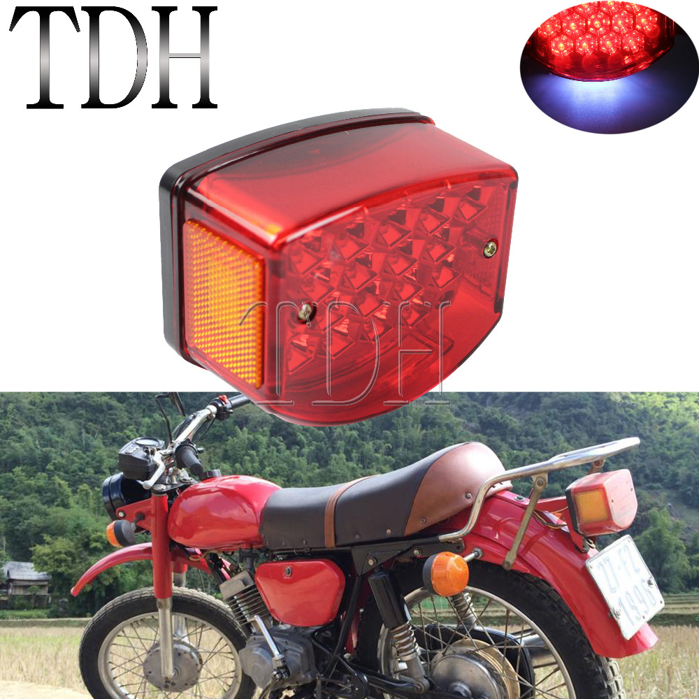 Motorcycle Tail Rear Light Red LED Rear Lamp Taillight With Reflector On Both Side For Minsk 125cc Carpathians 50cc