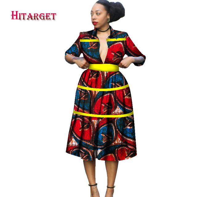 african dresses for women african embroidery bazin dress Dashiki women dress cotton african print clothing plus size WY1229