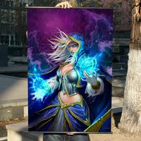 WOW:Alliance leader Jaina HD Game Movie Wall Scrolls Poster Bar Cafes Home Decor Banners Hanging Art Waterproof Cloth Decorate