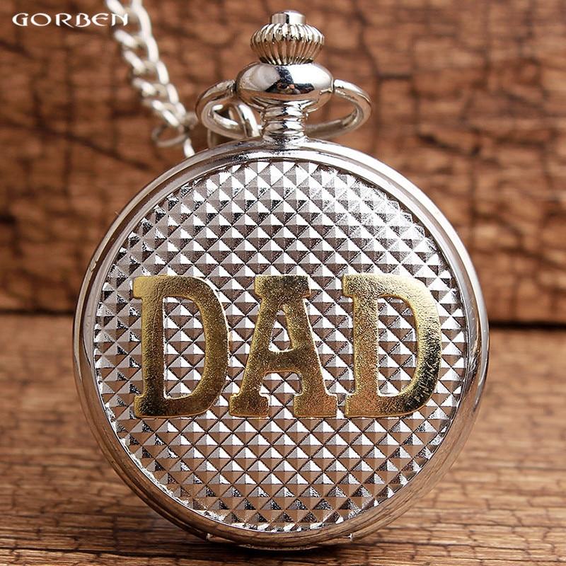 2017 Nová módní stříbrná DAD vzor kapesní hodinky Luxusní křemenné kapesní  hodinky Fob řetězec vázané drahé 390611bbd1