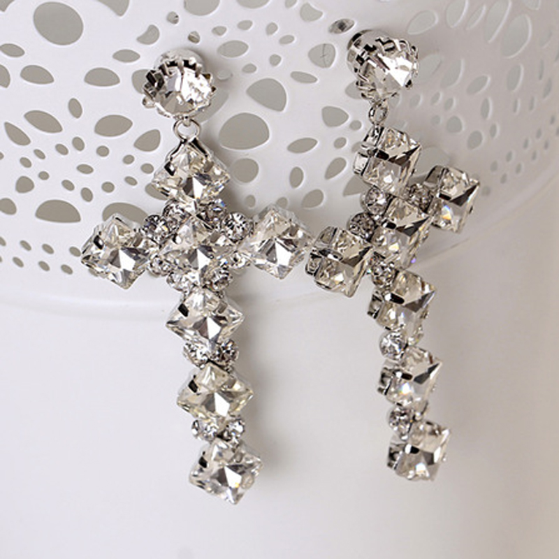Europe and the United States popular charismatic cross crystal earrings #E202