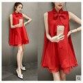 Корейской моды dress loose dress 2017 летний новый рукавов темперамент лук галстук женщин короткие горячая продажа