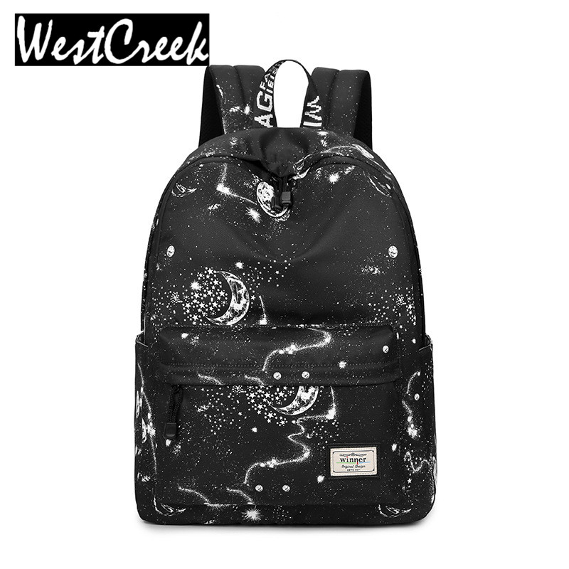 Fashion Women Backpack School Bag Black Stars Sky Space Pattern Printing Waterproof Bagpack Large Capacity Bookbag