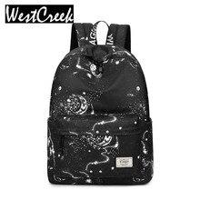 Модные женские туфли рюкзак мешок школы черный звезд неба пространство шаблон печати Водонепроницаемый рюкзак большой Ёмкость рюкзак для девочек
