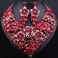 Venta caliente Pendientes de Cristal Plateado del Oro Collar Llamativo para Las Mujeres Nupcial de La Boda Africana sistemas de La Joyería