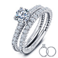 Wholesale 1 Carat Round Cut Created  Solid 925 Sterling Silver 2-Pc Wedding Ring Set Jewelry YR0001
