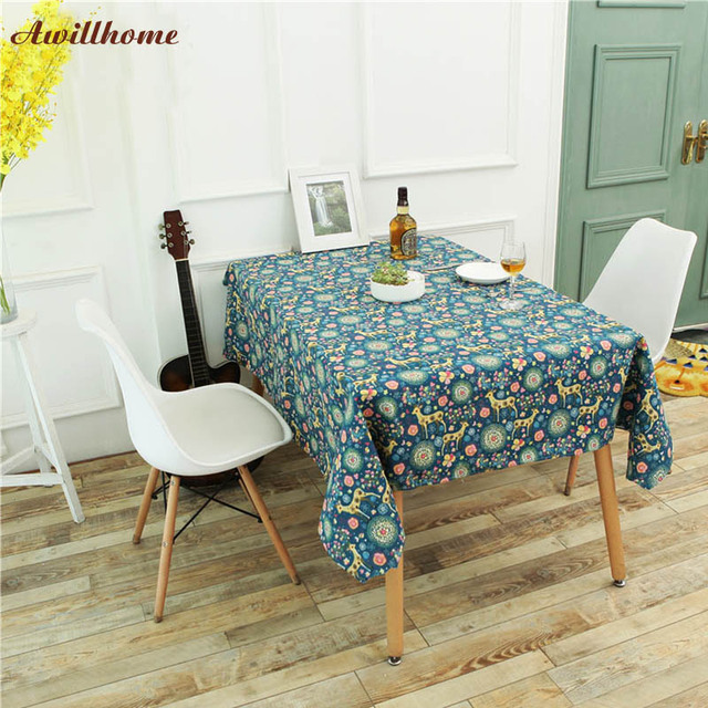 Awillhome 11Size Tablecloths Plaid Home Rectangle Tablecloths Linen  Pastoral Dining Deer Table Cloths Factory Table Covers