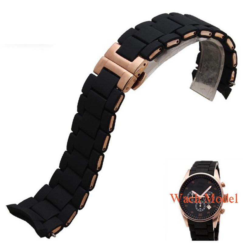 20mm 23mm Curved End Watchbands Rubber wrap Rose-gold Stainless Steel Watch Strap Solid Link  Bracelet for AR5890 5905 5919 5858 liaopijiang bao gangshi used ar5890 ar5905 ar5906 stainless steel strip rubber fashion 20 23mm