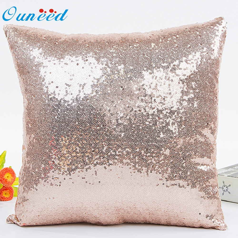 Ouneed Solid Color Glitter Sequins Throw Pillow Case Cafe Home Cushion Covers for sofa decorative u70324
