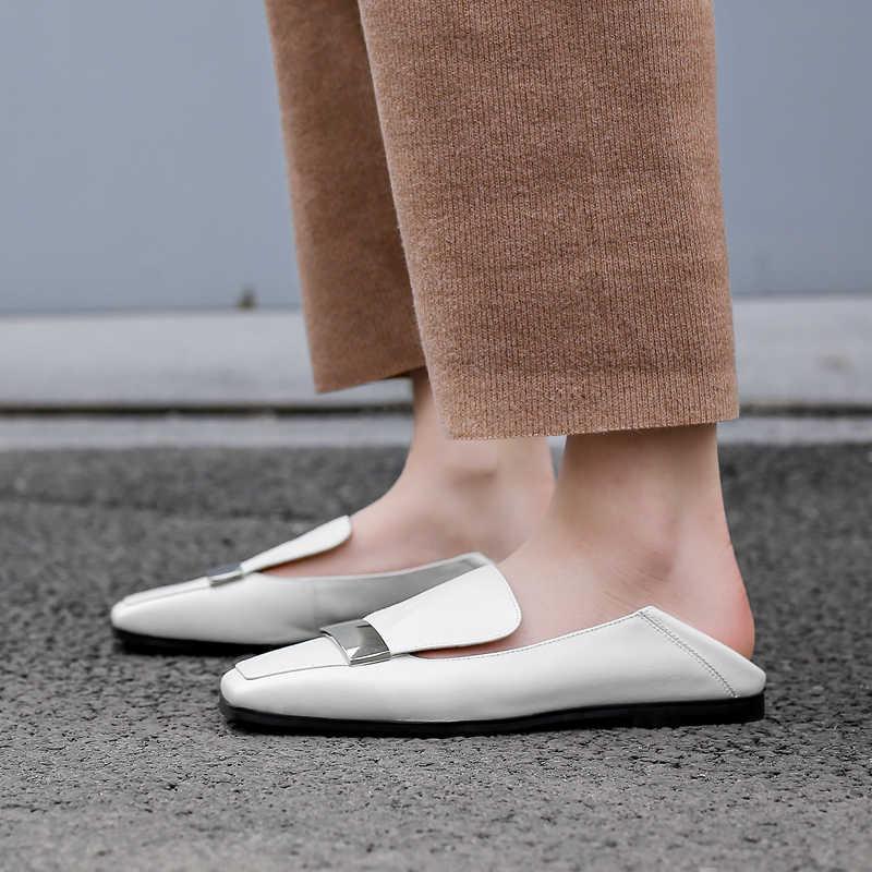Kadın hakiki deri slip-on balerinler yumuşak rahat bale daireler eğlence kadın katır yüksek kaliteli mokasen ayakkabı kadın