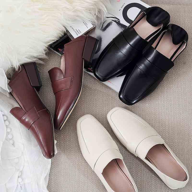 Krazing maceta diseño vintage 2019 cuero de grano completo punta cuadrada tacón bajo marca zapatos Oficina señora suave gladiador elegantes bombas l2f9-in Zapatos de tacón de mujer from zapatos    3