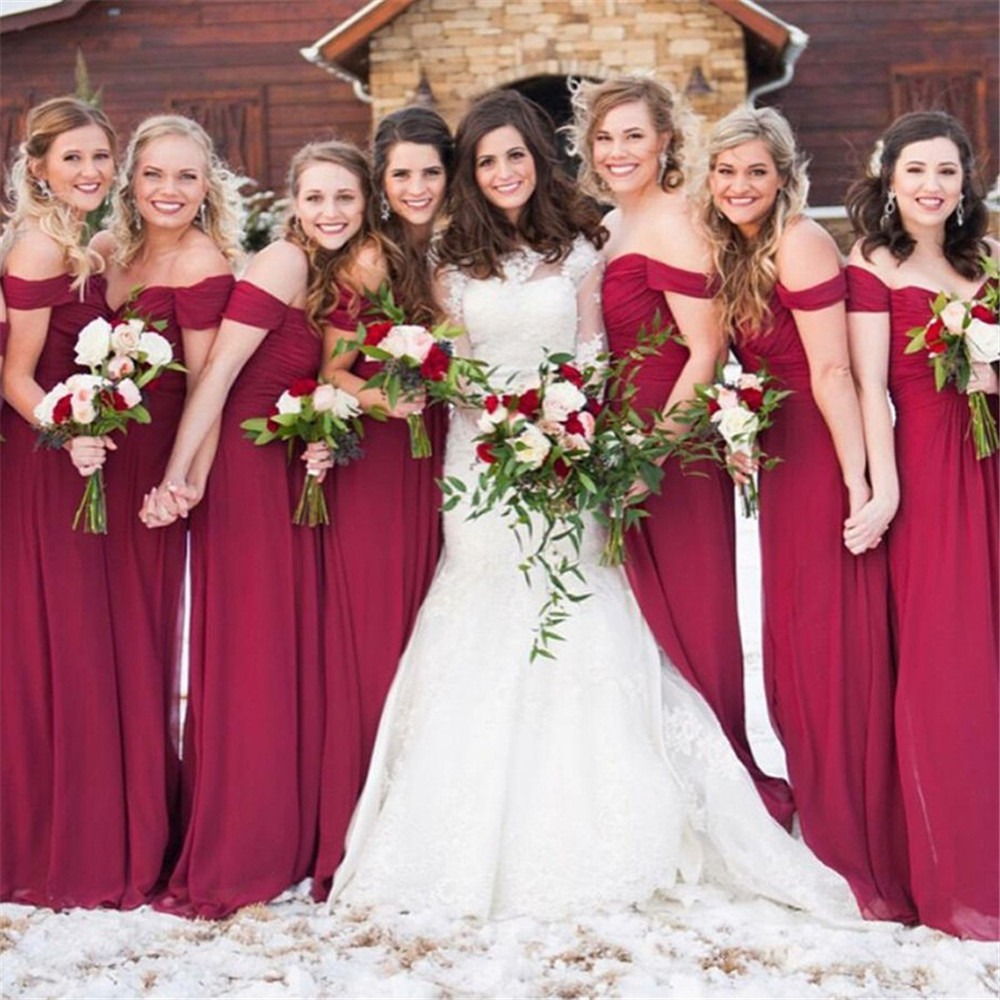 Dark Red Chiffon Long   Bridesmaid     Dresses   Boat Neck Off The Shoulder A Line Cheap Wedding Party Gowns 2019 New Women   Dress