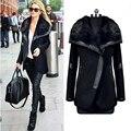 2016 новых прибыть зима весна женщины шерсть черный отложным меховым воротником шерстяное пальто кожа лоскутное молнии куртки верхняя одежда