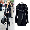 2016 New Arrive Winter Spring Women Wool Blends Black Turn Down Fur Collar Wool Coat Leather Patchwork Zipper Jacket Outerwear