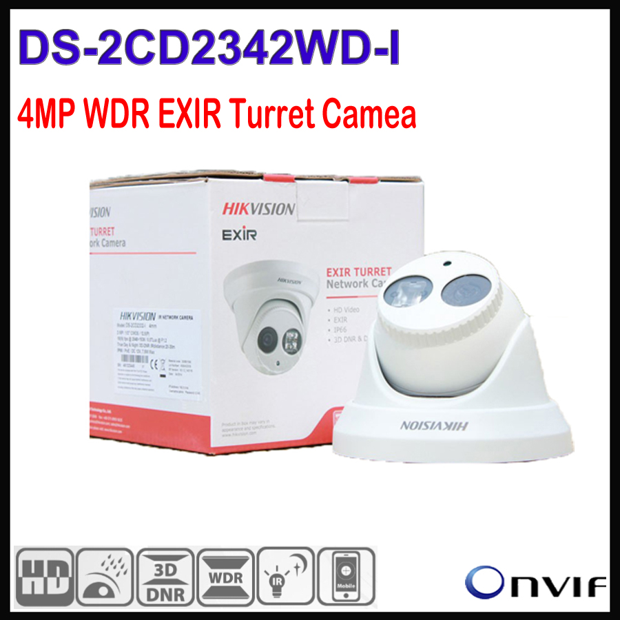 In stock Hikvision 4MP IP Camera CCTV Dome Outdoor DS-2CD2342WD-I, 4 Megapixel WDR EXIR Turret Network Camera