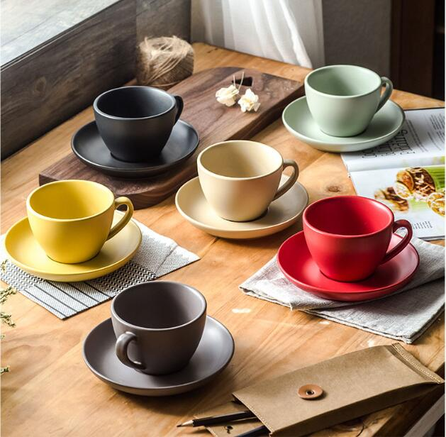 300ml Colorful Fashion Quality Ceramic Coffee Cup And Saucer Matte Finish Cuccino Cups Latte For Cafe In Mugs From Home Garden On