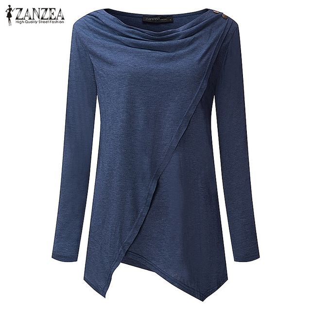2018 Autumn ZANZEA Women Outerwear Cardigan Long Sleeve O Neck Female Casual Loose Blouses Shirts Solid Asymmetrical Blusas Tops 5
