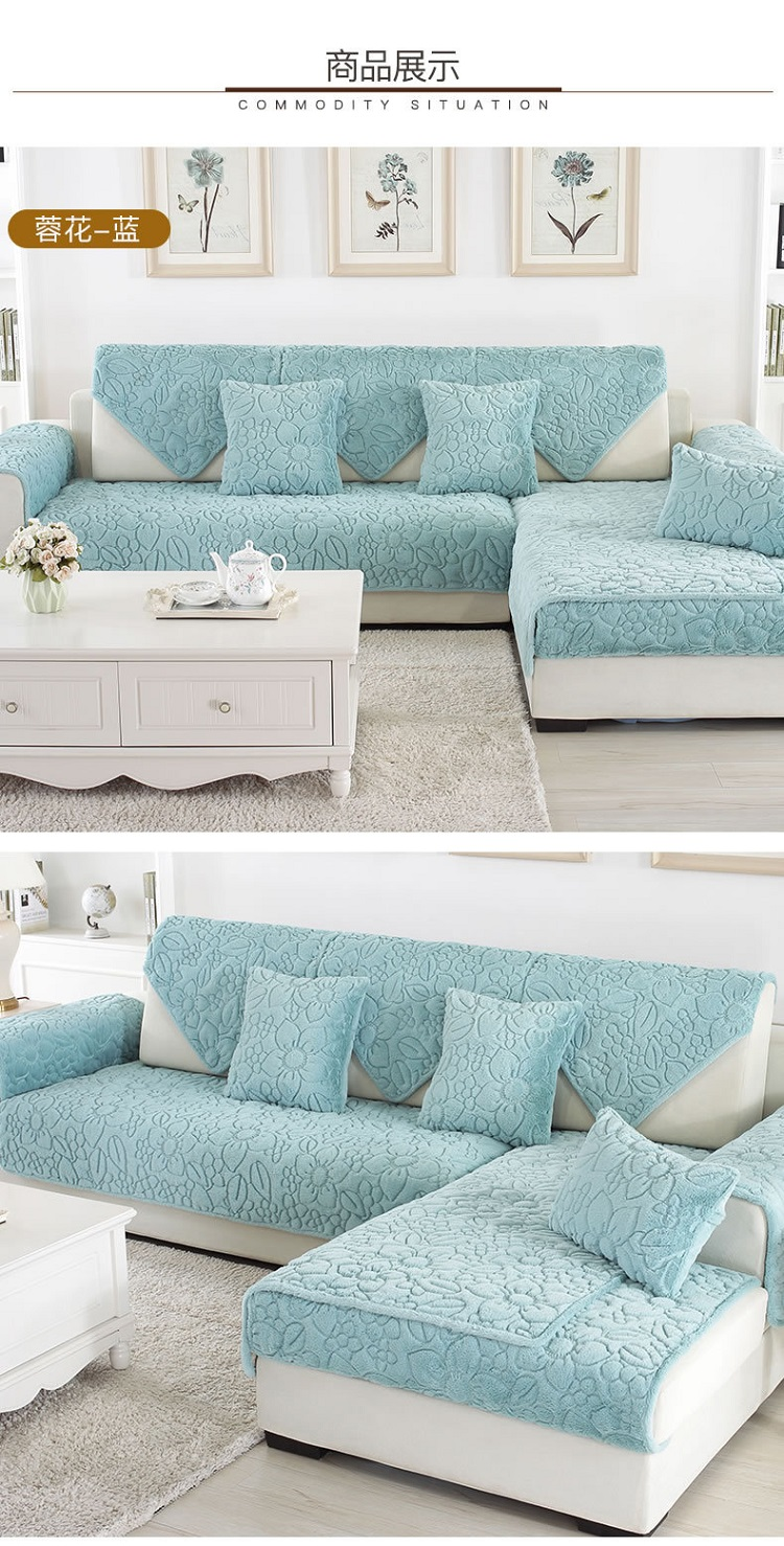 Us 8 85 41 Off Plush Gardenia Stereoscopic Embossed Sofa Cover Cotton Non Slip Sofa Chair Covers Mats Living Drawing Room Decorative L Shaped In