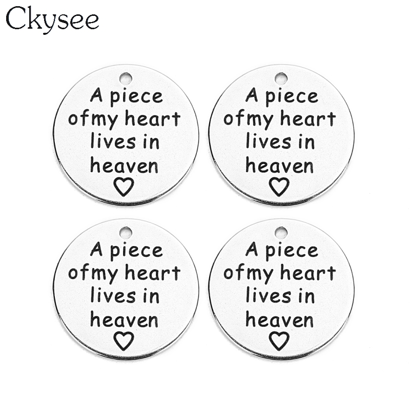 Responsible Ckysee 5pcs/lot Stainless Steel Charms Pendant A Piece Of My Heart Lives In Heaven Inspirational Charms For Bracelet Diy Jewelry Jewelry Sets & More Jewelry & Accessories