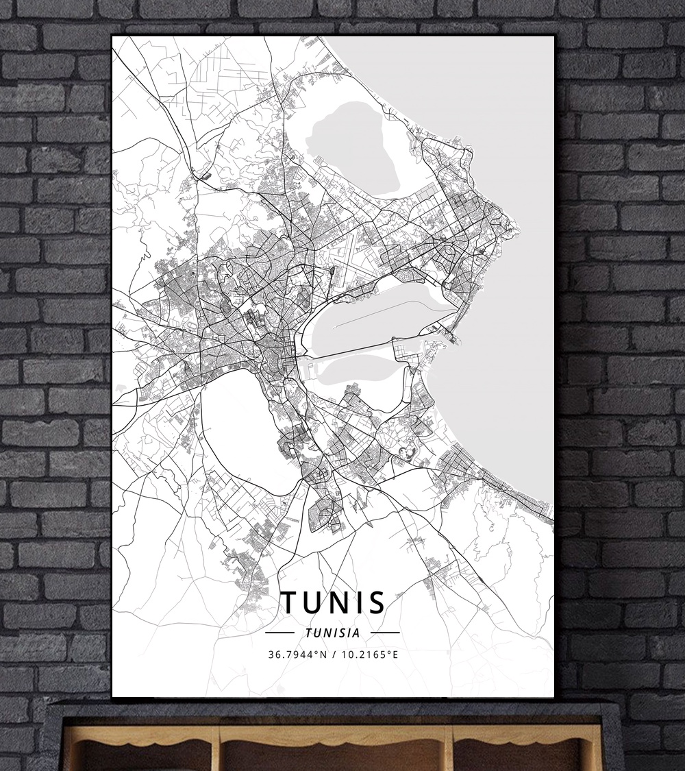 North Africa Algeria Libya Tunisia City Map Canvas Art Print Wall Pictures for Living Room No Frame