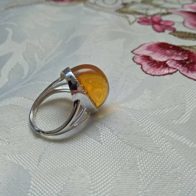 Оригинал бирманский янтарь кольцо + сертифицированный + редкие золотой blueclear воды + 4.3 г + уникальный + ручной burmite + хорошая форма + Сара Ши