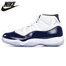 watch 04cae cd080 Nike AIR JORDAN 11 RETRO AJ11 Men s Basketball Shoes, White   Dark Blue,  Shock Absorption Wear Resistant Breathable 378037 123