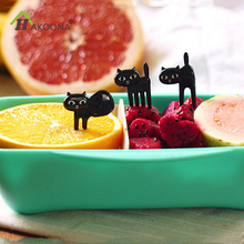 HAKOONA Black Cat Fruit Fork  Cartoon Fruts Forks For Children Kitty Lunch Box Decoration 6 Pieces/Set