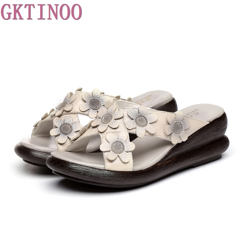 Summer Outside Slippers Genuine Leather Wedges Shoes Women Slides Cut Out Handmade Flower Comfortable Women Slipper 2017 ethnic style genuine leather women s summer shoes sandals wedges slides handmade flower women platform slipper
