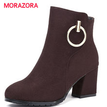 MORAZORA big size high heel zipper ankle boots for women autumn winter round toe square heel boots fashion suede leather boots(China)
