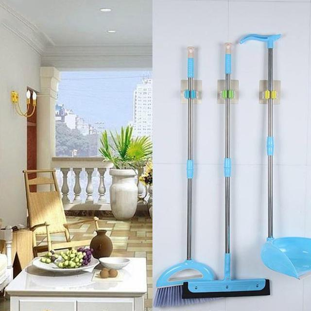 Household Multifunction Mop Clip Adhesive Broom Hanging Hook Waterproof Bathroom  Hook Bathroom Organizer Wall Hooks