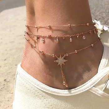 3 Pcs/Set New Fashion Gold Crystal Sequins Star Beads Anklets for Women Bracelet on The Leg Foot Beach Jewelry Accessories