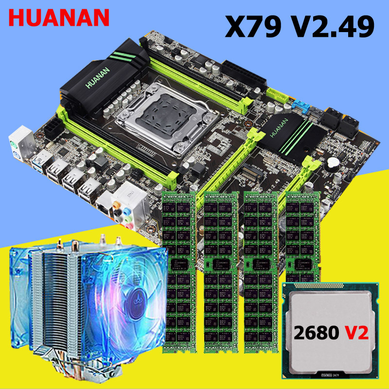 HUANAN V2.49 X79 motherboard CPU RAM set with cooler Xeon E5 2680 V2 RAM 32G(4*8G) DDR3 RECC NVME SSD M.2 port MAX 4*16G memory huanan v2 49 x79 motherboard with pci e nvme ssd m 2 port cpu xeon e5 2660 c2 ram 16g ddr3 recc support 4 16g memory all tested