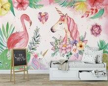 beibehang Custom High-quality Silk wallpaper flamingo unicorn children room decoration wall papel de parede 3d mural