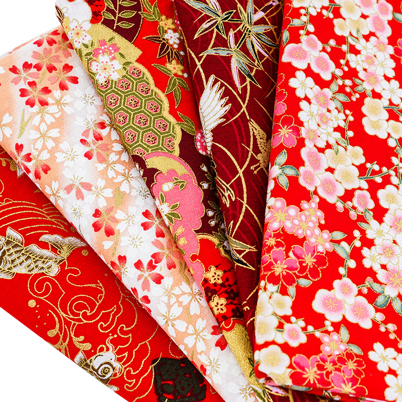 Flora Kimono Bronzed Red Fabric Japanese Style Flower Pattern Fabric For Dress And Patchwork  Home Textile Material TJ8692-3