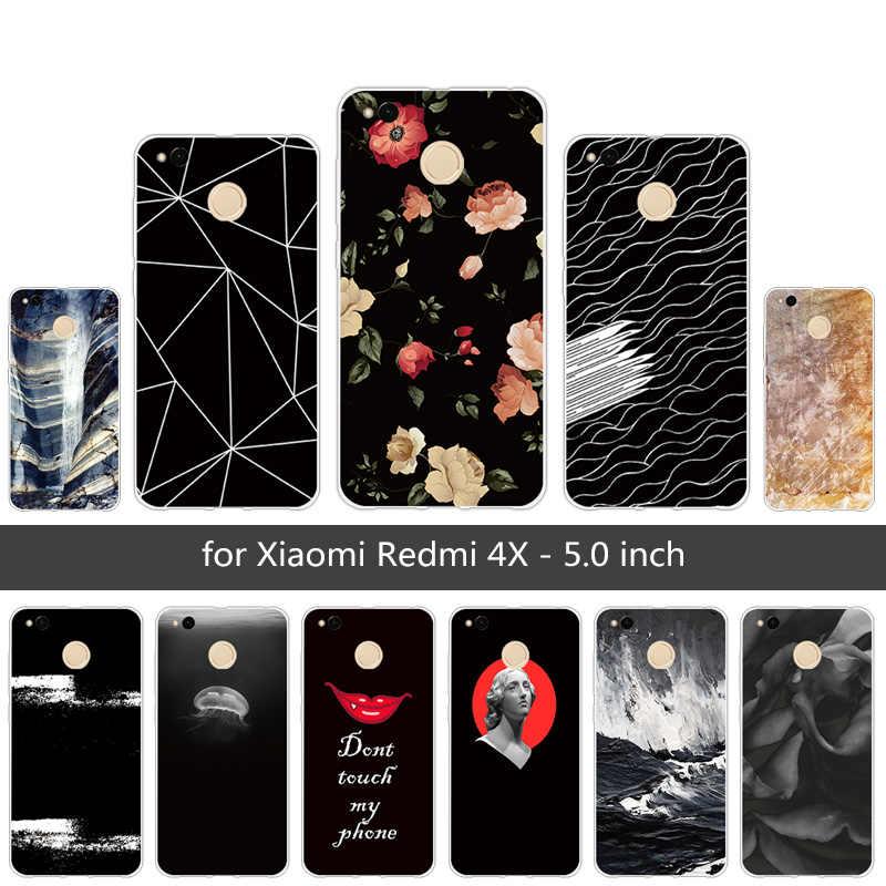 用xiaomi redmi 4 × 4 ×ケース柔らかいシリコーンのためxiaomi Redmi4X xiomi redmi 4xブラックファンシーカバー5.0インチ電話capa用Redmi4X