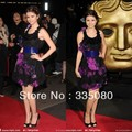 Selena Gomez Above longitud de la rodilla de la flor Hem Cocktail Red Carpet Celebrity Dress