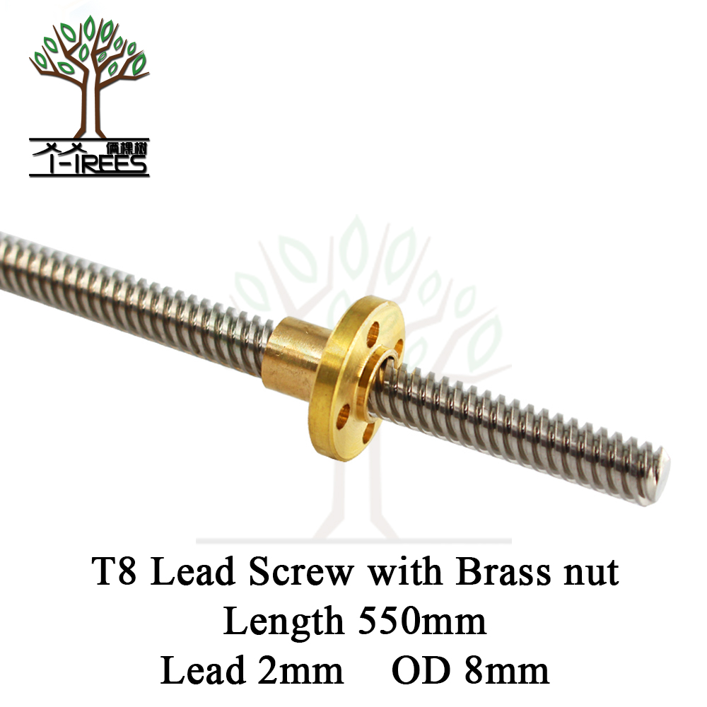 T8 Lead Screw OD 8mm Pitch 2mm Lead 550MM with Brass Nut for Reprap 3D Printer Z Axis