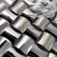 3D convex metal mosaic ceramic backing wall mosaic tile convex silver metal mosaic HME8038 mosaic tiles free shipping