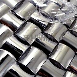 3d محدب المعادن فسيفساء السيراميك بدعم HME8038 محدبة الفضة معدن فسيفساء فسيفساء بلاط الحائط بلاط الموزاييك الشحن المجاني
