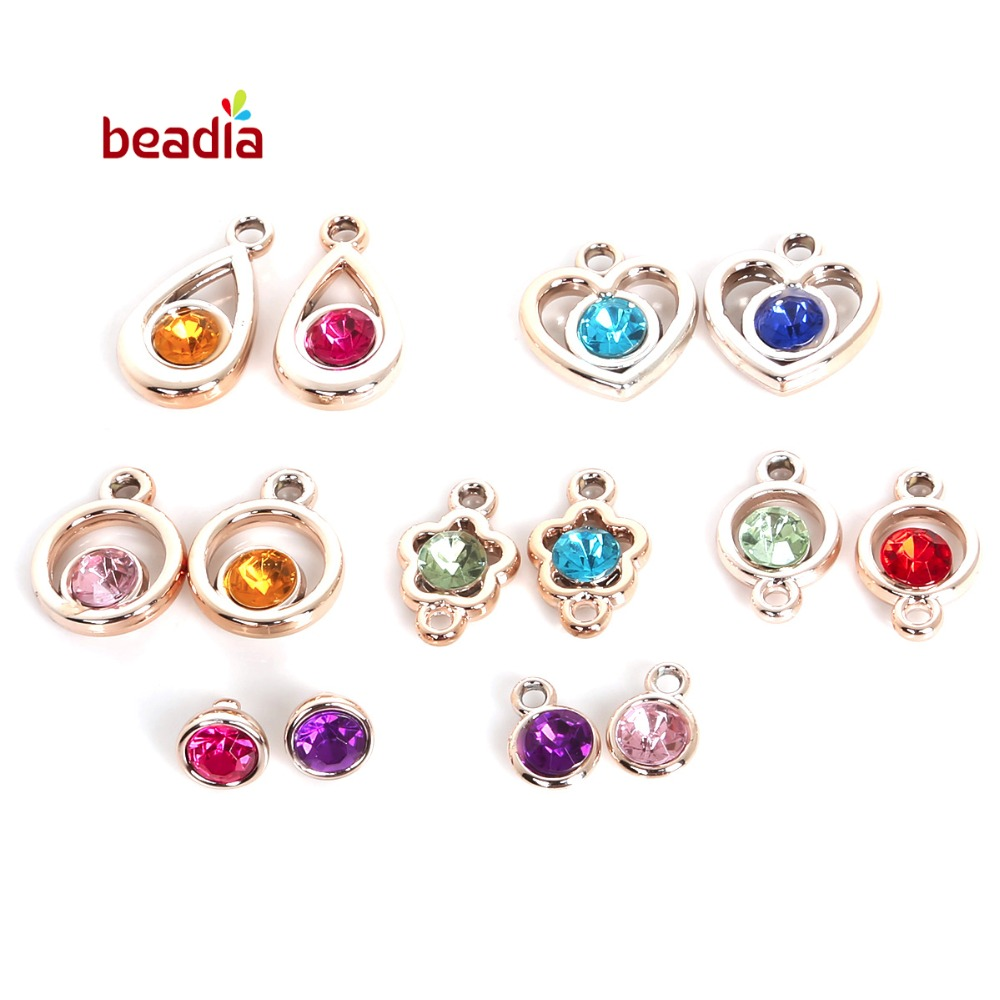 Mix Colour Agate Heart Tear Drop Shape Charm Bracelet Spacer Beads Findings