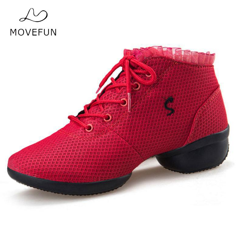 New Ladies Girls Dance Sneakers Breath Soft Dance Shoes Woman Modern Jazz Latin Ballroom Shoes Tango Dance Red&Black MoveFun-15