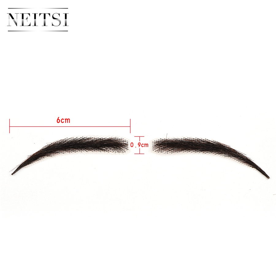 Image 2 - Neitsi Woman One pair 100% Human Hair Lace Base Fake Eyebrows KS W705Eyebrow Enhancers   -