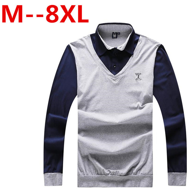 9XL 8XL 7XL 6XL 5XL Casual polo shirt men fashion letter print long-sleeve men's polos brand polo shirts man hot-sale slim polos