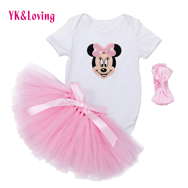 Cartoon Baby Set Girls Spring Summer Cotton baby rompers and handmade tutu Skirt with bow pink Red Infant Toddler Baby Clothing