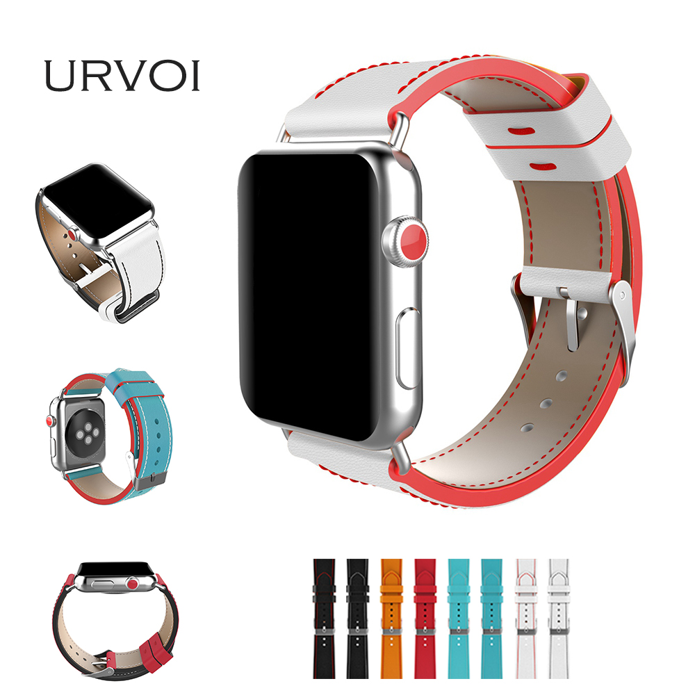 URVOI band for apple watch series 3 2 1 genuine leather strap for iwatch comfortable feel colorful seam line & edge match crown
