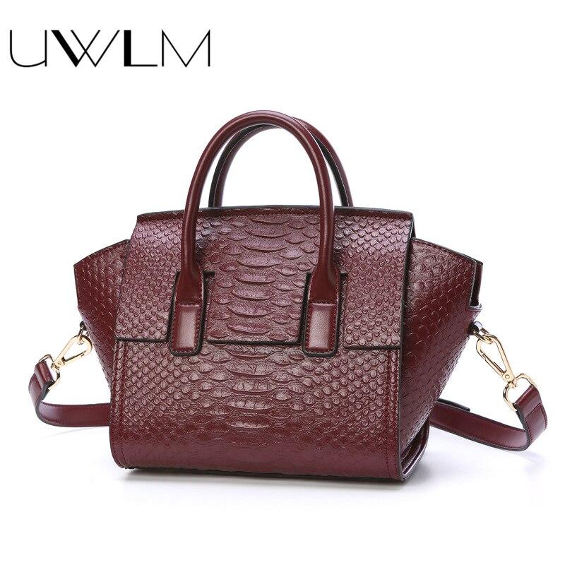 UWLM Women Crocodile Embossed Handbags Bags 100% Genuine Cow Leather Women Handbag Hobos Totes Women Bag Large Brand Bags Luxury multi zips crocodile embossed handbag