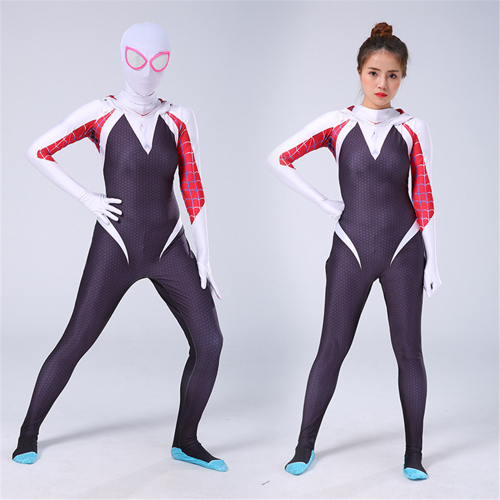 NEW 3D Kids Women Gwen Stacy Spider-man Cosplay Costume Gwendolyn Maxine Stacy Spiderman Zentai Hero Bodysuit Suit Jumpsuits(China)