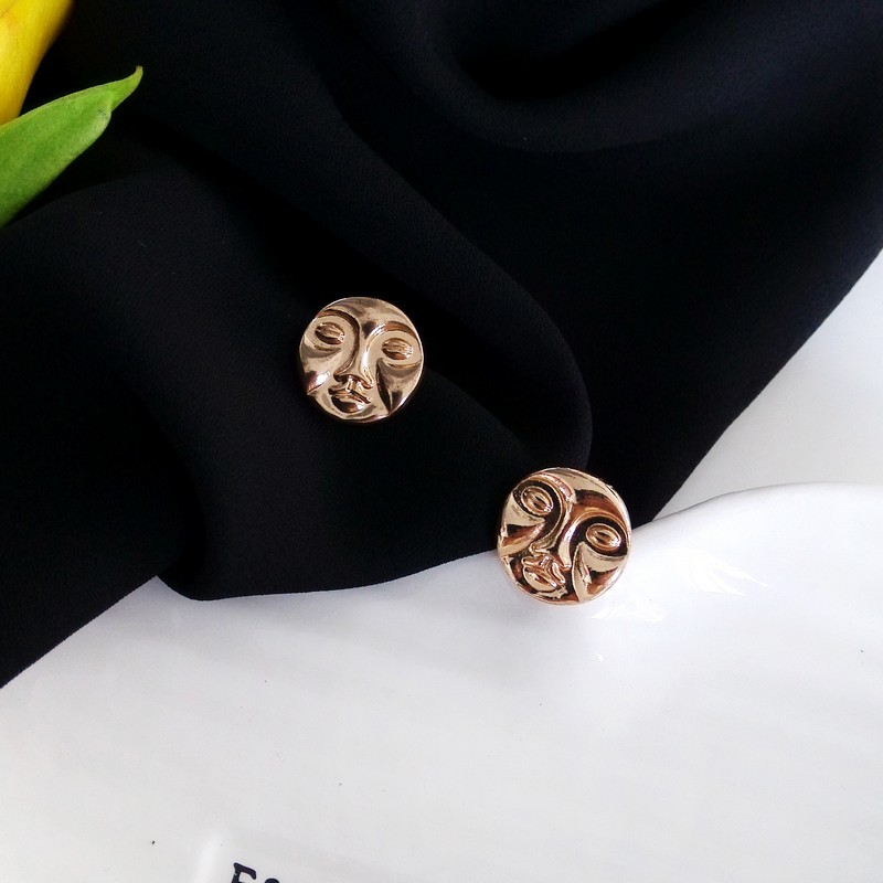 Original Design Vintage Geometry Metal Head Portrait Human Face Round Stud Earrings Exaggeration Earring Fashion Jewelry In From