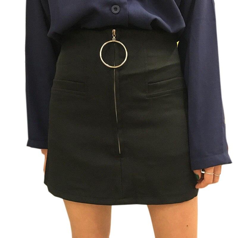 2018 Spring Summer Women Natural Circle Zipper Skirt High Waist Package Buttocks Casual A-line Black Skirts